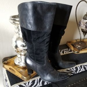 Black leather and suede knee high boots